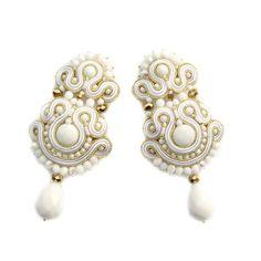 Porcelain Palace - ślubne kolczyki sutasz soutache (proj. Rododendron7), do kupienia w DecoBazaar.com