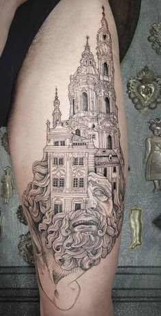 awesome tattoo ideas for architecture lovers © tattoo artist Marco C. Matarese 💓💓💓💓💓<br> In a joke from the late George Carlin once referred to a heavily tattooed person as a 'mobile art gallery', and further added that when 'a guy like that … Tattoos For Lovers, Life Tattoos, Body Art Tattoos, Sleeve Tattoos, Tattoos For Guys, Tattoos For Women, Cool Tattoos, George Carlin, Cathedral Tattoo