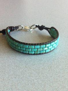 Stylish single wrap leather turquoise bracelet by 3prettygirls4mom, $12.00