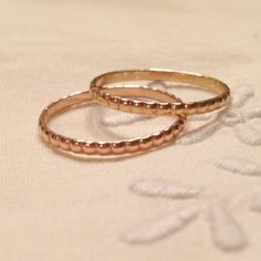 This listing is for a pair of beautiful beaded 1mm bands, shown here in 14k rose and yellow gold (also available in rose, and white gold).