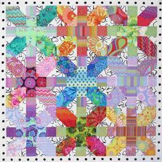 Sewing Block Quilts = tutorial = Japanese X and Plus Quilt in Kaffe Fassett fabrics at Christine's Color Connection Bright Quilts, Colorful Quilts, Small Quilts, Scrappy Quilts, Mini Quilts, Baby Quilts, Quilting Projects, Quilting Designs, Quilting Ideas