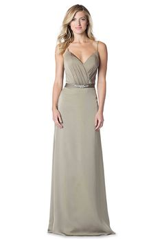 Bari Jay. Spaghetti strap, V-neck gown with asymmetrical draped bodice. Crystal waistband embellishment and smooth skirt.