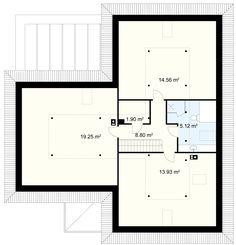 Bagatela 8 G2 projekt - Poddasze 63.56 m² strych (przykładowa aranżacja) Modern Bungalow House, Bungalow House Plans, Dream House Plans, Modern House Design, House Floor Plans, Kitchen Island Bench, House Entrance, Door Design, Ground Floor