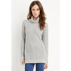 Forever 21 Heathered Turtleneck Sweater ($25) ❤ liked on Polyvore featuring tops, sweaters, polo neck sweater, turtle neck tops, white turtleneck sweater, forever 21 sweaters and lightweight sweaters