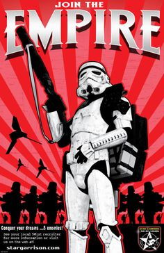 Use of Iconian Fonts' Wolfs Bane font - Join the Empire (stormtrooper graphic)