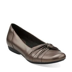 Chateau Manor II in Grey Metallic Leather - Womens Shoes from Clarks