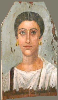Mummy portrait of a Woman, Egypt, Fag el Gamus(?), AD 150-180 (Brooklyn, NY, Brooklyn Museum of Art) , Encaustic on wood.