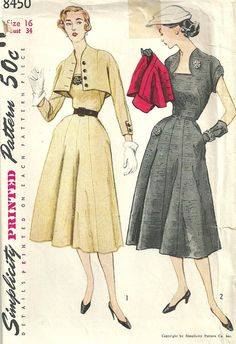 Simplicity 8450 Vintage 50s Sewing Pattern dress And Bolero Size 16 Bust 34