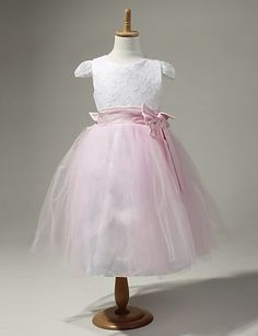 Satin And Tulle Flower Girl Dress With Bow