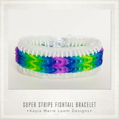 Rainbow Loom Bracelet - Super Stripe Fishtail better than sailors pinstripe