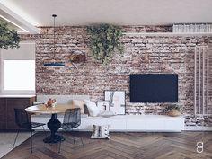 Industrial living room / brick on wall Brick Wall Tv, Brick Wall Decor, White Brick Walls, Brick Wallpaper Living Room, Accent Walls In Living Room, Living Room Decor, Home Room Design, Living Room Designs, Brick Interior