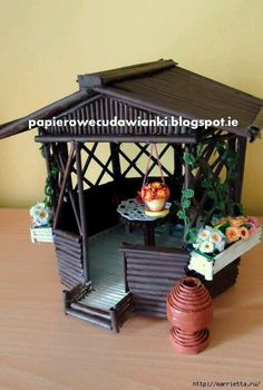 Arbour from newspaper tubes with quilling elements. Cool Paper Crafts, Newspaper Crafts, Cardboard Crafts, Diy Arts And Crafts, Crafts To Do, Hobbies And Crafts, Diy Paper, Home Crafts, Paper Art