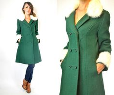 ON SALE /// Vtg 60s Double Breasted dark green mod rabbit fur PRINCESS coat, small-medium by discoleafvintage on Etsy https://www.etsy.com/listing/162138908/on-sale-vtg-60s-double-breasted-dark