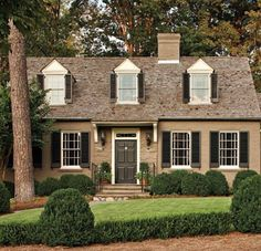 painted Brick/ stone Fauna by ICI Paints Trim: French White by ICI Paints Shutters and Door: Mopboard Black by Pratt & Lambert Cottage Exterior, Exterior Trim, House Paint Exterior, Exterior Paint Colors, Exterior House Colors, Exterior Design, Paint Colours, Painting Shutters, House Painting