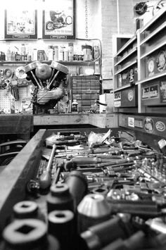 tools, an engine, all parts of a whole to make up the shop