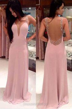 Pink Prom Dress, Open Back Prom Dresses, V Neck Evening Dresses, Satin Party Dresses, Aline Formal Dresses