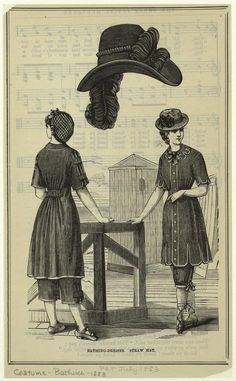 Bathing-dresses ; Straw hat.  July 1883.  The Peterson magazine.