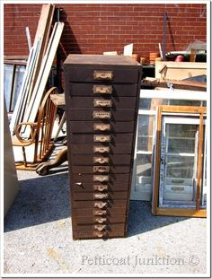 rusty file cabinet begging to be repurposed!