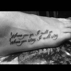 part of a bible verse we used in our vows...finally a tattoo I wouldnt mind having permanently on my body...LOVE the placement too...maybe a 30th birthday treat in a couple years