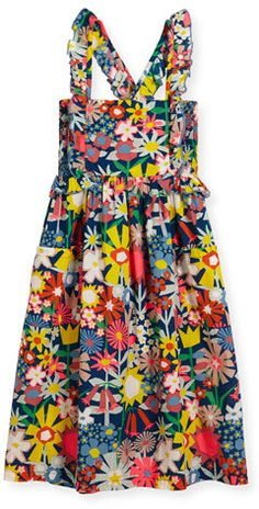 Stella McCartney Celeste Cross-Back Floral Poplin Dress, Multicolor, Size 4-14