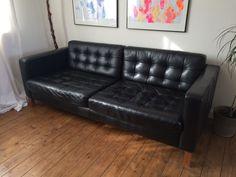 landskrona ikea black leather sofa