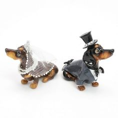Dachshund Short Haired Wedding Cake Topper Bride by dOggymate
