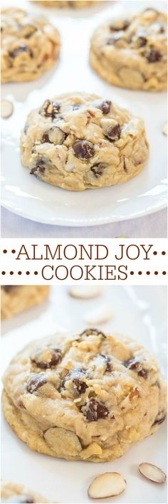 I love Almond Joy candy bars so I know this is a treat my family would love! Almond Joy Cookies - If you like Almond Joy bars you're going to love these! Soft, chewy and loaded with coconut, almonds and dark chocolate! Almond Joy Cookies, Yummy Cookies, Chocolate Chip Cookies, Yummy Treats, Sweet Treats, Yummy Food, Cookies Soft, Bar Cookies, Chocolate Chips