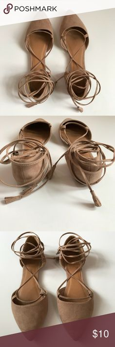 Lace up Flats Faux suede nude colored size 7 flats with ankle laces :: worn once or twice :: slight creases at tips of toes Charlotte Russe Shoes Flats & Loafers