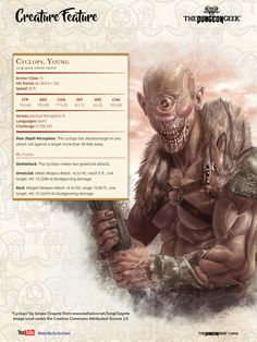 D&D Creature Feature – Young Cyclops Dungeons And Dragons Rules, Dungeons And Dragons Homebrew, Dungeons And Dragons Characters, Dnd Characters, Creature Feature, Creature Design, Mountain Monsters, Dnd Stats, Dnd Classes