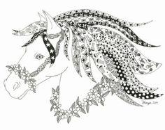 Zentangle Horses | 5x7 Zentangle horse drawing card.