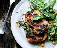 Grilled Chicken with Arugula and Warm Chickpeas. Add garlic to the pan along with the chickpeas. Fast, healthy & a weeknight winner!