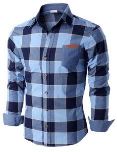 Doublju Men's Long Sleeve Check Print Shirts (KMTSTL0166) #doublju
