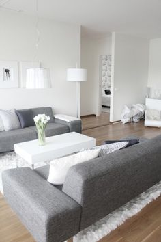 dark floors grey couch white rug white walls - Google Search