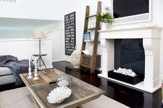 #Cool Grey #Beachwood Coffee table #Ladder #Custom made sofas