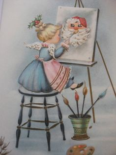 Vintage Greeting Card  Friendly Day  Christmas Girl Angel Painting Pink Chic