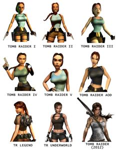 The progression of Lara Croft - leather belts and holster, blue-grey boy beater shirt, brown booty-shorts brown lace up boots, white boot socks, leather backpack or jetpack for steam punk, add a corset, could be white, brown or blue