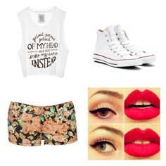 One direction lyric tank, floral shorts, white high top converse, topping it off with dark black eye liner and red lips! White High Top Converse, White High Tops, Black Eyeliner, Eye Liner, Floral Shorts, Summer Clothes, High Waisted Shorts, Red Lips, Spring Outfits