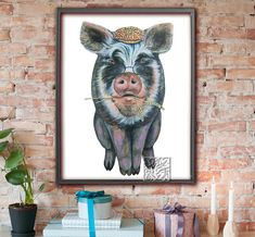 Black Pig Rare Breed watercolour picture. Pig with hat and glasses. Art Print or Poster Signed, original, 8 x 10 and 12 x 16 inch