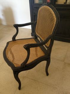 Large #LouisXV #caned armchair with flat backrest. #18th century. For sale on #Proantic by Galerie de la Madeleine.