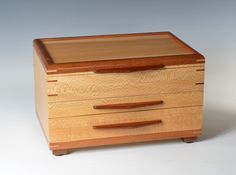 """Sycamore and Sapele 2 Drawer Jewelry Box by WIBN on Etsy, $449.00 This larger box is approximately 14"""" x 10"""" x 9"""" high. It has two drawers, 1 1 1/2"""" high, and a second 2 1/2"""" high."""
