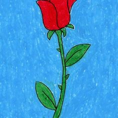 How to Draw a Rose. Step by step instructions. PDF tutorial available. #artprojectsforkids. #howtodraw #valentine
