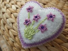 Hand Embroidered and Beaded Framed Heart Pin. $14.00, via Etsy.