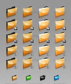 Folders Set — Photoshop PSD #glossy icon #orange • Available here → https://graphicriver.net/item/folders-set/122214?ref=pxcr