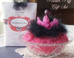 READY to SHIP Powder Puff with Handle GIFT Set in Parisienne Pink (puff, glass dish, dusting powder, sifter insert)
