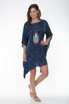 Boho Silk Collection ~ Black & Blue Kaftan Ladli Australia  Hand block printed pure silk kaftan.