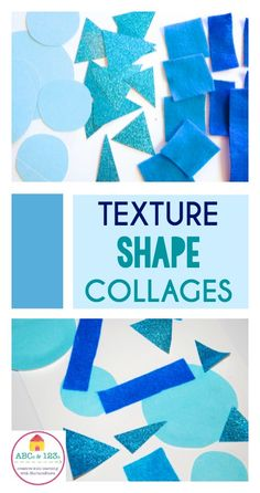 Multi-sensory math: how to explore texture and shape in a simple shape collage math and art project. Shape Collage, Shape Art, Kindergarten Art, Preschool Art, Preschool Shapes, Preschool Learning, Teaching Shapes, Teaching Art, Art Education Lessons