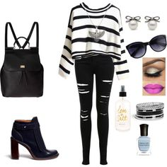 A fashion look from July 2015 featuring Miss Selfridge jeans, Tory Burch boots and Dolce&Gabbana backpacks. Browse and shop related looks.