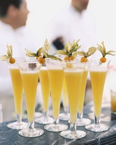 Guests sipped Bellinis and mimosas made with fresh-pressed fruit juices. Refreshing Cocktails, Cocktail Drinks, Fun Drinks, Cocktail Recipes, Cocktail Ideas, Party Drinks, Beverages, Wedding Signature Drinks, Signature Cocktail