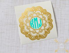 Mandala Monogram Glossy Vinyl Decal, Monogram Sticker, Flower Monogram, Circle Monogram