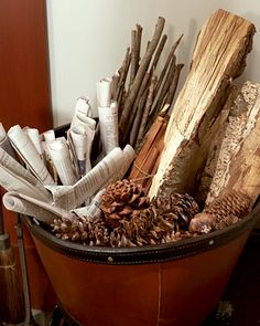Cute Gift: Kindling Options for the fireplace...great holiday housewarming or hostess gift...gather good firestarters and a great container..check Martha for a list